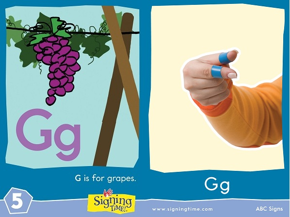 G Letter Baby Sign Language ASL Dictionary USA